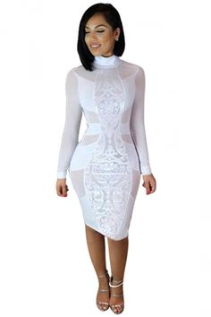 Bodycon Dresses   Sexy, Tight, Fitted, Bandage, White, Black  Tobi