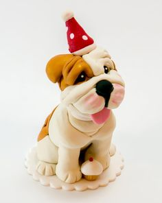 Adorable English Bulldog Birthday Cake Topper by DogCakeTopper