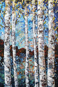 """""""Twilight Birch"""" Acrylic on Canvas by Maya Eventov. Available at Crescent Hill Gallery in Mississauga, ON Painting Trees, Artwork For Home, Birch Trees, Joy Of Life, Exotic Flowers, Acrylic Art, Tree Art, Twilight, Photo Art"""