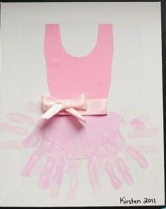 Hand print tutu with pink leotard and bow
