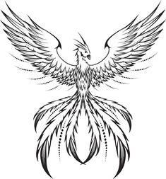 Ideas Phoenix Bird Tattoo Men Feathers For 2019 Simple Bird Tattoo, Bird Tattoo Men, Phoenix Bird Tattoos, Phoenix Tattoo Design, Silhouette Tattoos, Bird Drawings, Tattoo Drawings, Pheonix Drawing, Drawing Drawing