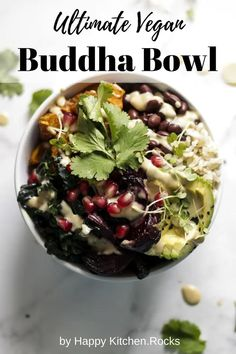 This Buddha bowl is complete, well balanced meal in just one serving and isn't hard to make. The vibrant colors and rich flavors make it incredibly satisfying and you'll want to enjoy this vegan bowl of yumminess again and again. Delicious Vegan Recipes, Whole Food Recipes, Healthy Recipes, Lunch Recipes, Dinner Recipes, Healthy Fats, Free Recipes, Vegetarian Lunch, Vegetarian Recipes