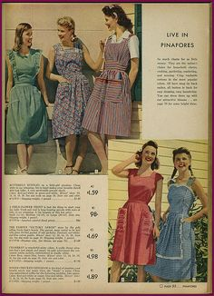 Live in pinafores! (Yes, please!) 1942 Sears catalog. #vintage #summer #fashion #1940s #dresses