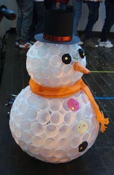 basteln schneemann   weißer schneemann aus weißen plastikpecher mit einer orangen nase, schwarzen augen und knöpfen