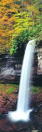 The impressive Lower Falls of Hills Creek in Pocahontas County are considered the second highest falls in West Virginia