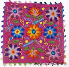 Pillow cushion cover Hand embroidered flowers Sheep & by khuskuy