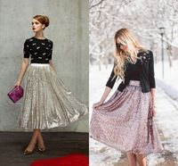 Sequined Lace Skirts Pleated Skirt  Ankle Length Shiny Women Long Skirts 2015 High Fashion Skirt  Summer Spring Skirts