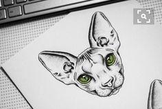 Sphinx Tattoo, Cat Tattoo, Gato Sphinx, Tattoo Hals, Neue Tattoos, Geniale Tattoos, Classic Tattoo, Sphynx Cat, Cat Drawing