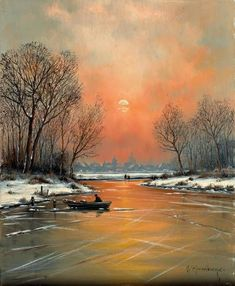 Born Studied at the Kunstschule Krefeld and at the D … - Art Painting Great Paintings, Seascape Paintings, Beautiful Paintings, Beautiful Landscapes, Oil Paintings, Winter Landscape, Landscape Art, Landscape Paintings, Winter Pictures