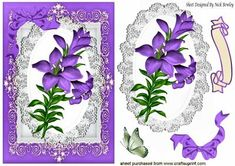 Pretty purple lily on lace wih bow card topper on Craftsuprint - Add To Basket!