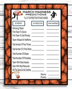 March Madness 2020 Predictions Game, NCAA Final Four Predictions Party – Enjoymyprintables Ncaa Final Four, Virtual Games, Free Throw, March Madness, Party Guests, One Team, Rebounding, Games For Kids, Party Games