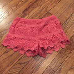 Pink crochet shorts Add a pop of color to your wardrobe for spring and summer! These pink crochet shorts are cute and comfortable. There is a hidden side zip closure. Tart Shorts