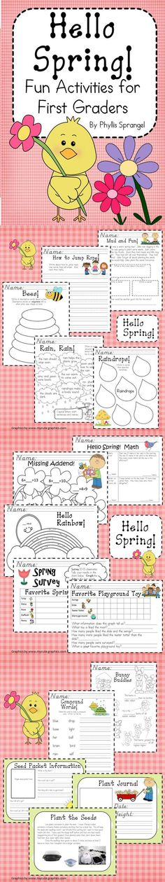 Hello Spring is a learning packet that welcomes in the warmer weather! It will engage the busy first graders in your classroom! All activities are easy to implement and substitute friendly! These activities will reinforce many Language Art and Math skills. It is aligned to the Common Core, too!  $7