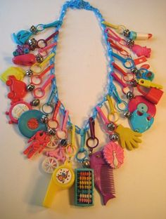 VINTAGE 80's Plastic Bell Clip CHARM NECKLACE Loaded Retro Fun #14
