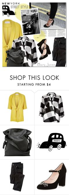 """Sweet Mary Janes New York Street Style"" by anna-anica ❤ liked on Polyvore featuring River Island, Loewe, TAXI, Wrap and Kate Spade"
