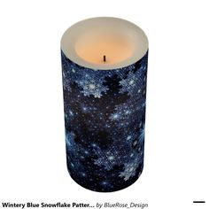 Shop Wintery Blue Snowflake Pattern Flameless Candle created by BlueRose_Design. Holiday Cards, Christmas Cards, Christmas Decorations, Flameless Candles, Pillar Candles, Snowflake Pattern, Christmas Items, Holiday Treats, Christmas Card Holders