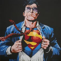 Art quilt:Supermand 80x80cm made by Dorte Jensen www.stofbilleder.dk