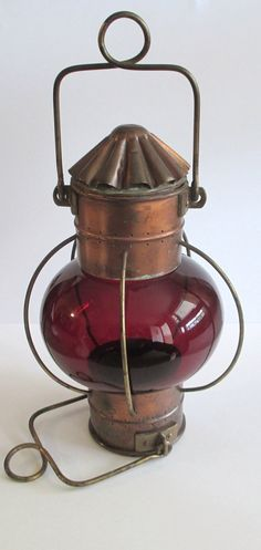 Antique SHIP LANTERN BRASS And Copper Red Glass by TREASUREandSUCH, $87.00