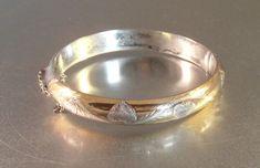Bracelets For Ladies  :    Sterling Etched Hearts Bangle Bracelet, Hinged 2 Tone  - #Bracelets https://talkfashion.net/acceseroris/bracelets/bracelets-for-ladies-sterling-etched-hearts-bangle-bracelet-hinged-2-tone/