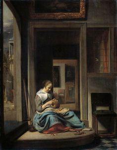 Woman Peeling Apple 1667 - Cornelis BISSCHOP,  Oil on panel, 70 x 57 cm -  Rijksmuseum, Amsterdam