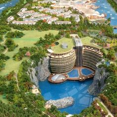 Find out all photos and details of Songjiang Quarry Hotel, China on Archilovers. Green Architecture, Futuristic Architecture, Concept Architecture, Sustainable Architecture, Amazing Architecture, Landscape Architecture, Architecture Design, Beautiful Places To Travel, Beautiful Hotels