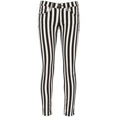 Rag & Bone Women's Benton Stripe Capri Jeans ($195) ❤ liked on Polyvore featuring jeans, pants, cotton capris, 5 pocket jeans, zipper jeans, white capri jeans and stripe jeans