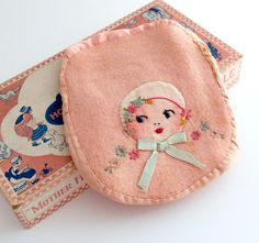 Vintage Hot Water Bottle Cover Mother Hubbard Hand Embroidered Pink Felted Wool~ so cute!!