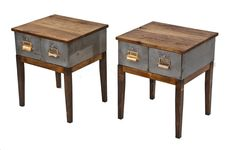 pair of repurposed vintage american industrial four-legged low-lying side tables with sliding drawers and newly added hickory wood tops