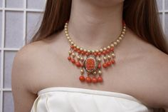 Vintage Coral Pearl necklace Choker Carved Floral Cameo Celluloid Flower Pendant OOAK up cycled Cream Assemblage Repurposed Orange Lucite by SusieKays on Etsy