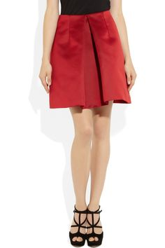 Carven Pleated satin mini skirt - 63% Off Now at THE OUTNET