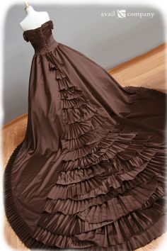 Extravagant chocolate brown pleated Victorian wedding dress