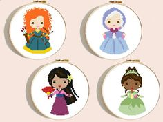 4 Disney princess modern cross stitch pattern, Cinderella, Sleeping Beauty, Beauty, Tiana, Ariel, Snow White, Rapunzel, hoop art, embroidery, counted cross stitch chart easy. This pattern is an instant download PDF. More Disney cross stitch patterns here