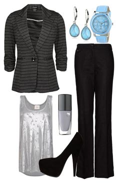 """""""Teacher Outfits on a Teacher's Budget 10"""" by allij28 ❤ liked on Polyvore featuring MANGO, Vintage America, Breda, Lancôme, metallics, suede pumps, horizontal stripes and blazers"""