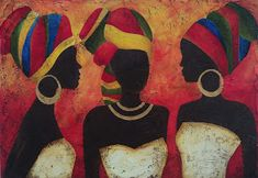 44 cm x 64 cm Afrique Art, African Art Paintings, Art Africain, Black Artwork, Arte Popular, African American Art, Black Women Art, Acrylic Art, Tribal Art