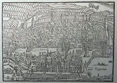 1550 c. Sebastian Münster Original Holzschnitt Cosmographia Zürich Zurich Zurigo