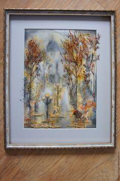 """Купить """"Свет осенних аллей"""" Флористический коллаж - оранжевый, осенний пейзаж, флористическая картина, аллеи"""