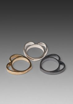 Stolen Girlfriends Club heart ring set in silver/bronze