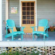Revive Outdoor Furniture- I LOVE the color of these! And I have two shabby adirondaks that are begging for attention.... :)