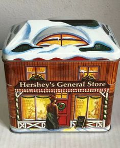 Hersheys 2002 Village Cute Christmas Canister Tin 2002 General 3rd Series for sale online | eBay Hershey Chocolate, Chocolate Peanuts, Filled Candy, Hershey Miniatures, Hershey Park, Chocolate Company, Reeses Peanut Butter, Box Houses, Metal Tins