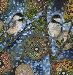 "Archival 6x6 inch Print on Wood ""Night Birds #1"" by LinneaTobias on Etsy"