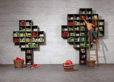 Youth and Children's Room ideas: Tree shelves. Also from lago, square shelf boxes in the shape of a tree.