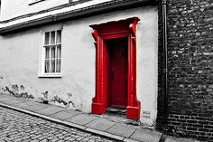 Red Door by Church.hill in Impressive Black & White Photography with a Touch of Color
