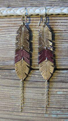 leather earrings by FarallonJewelry on Etsy