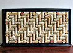 Wine Cork Board  Long Black Frame  Office by LizzieJoeDesigns