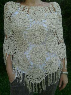 poncho tejido crochet en seda vegetal