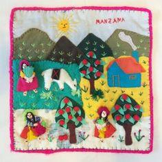 1980s Vintage Peruvian Folk Art Applique Tapestry Wall Hanging, Manzana Peru Arpillera Textile in paintings & posters