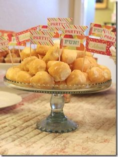 Chic Party: Cake plate of donuts holes at Pancakes and Pajamas birthday party!