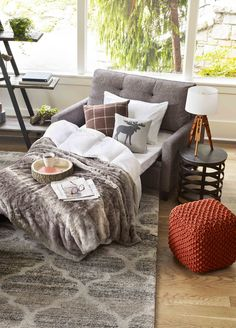 Time to get cozy with plenty of faux fur. #hygge - http://www.urbanbarn.com/category/decor/throws.do