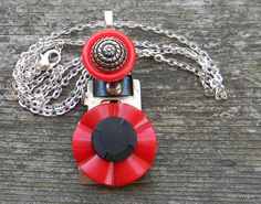 Sew Interesting Red and Black Assemblage Necklace by RustIsVogue, $28.00