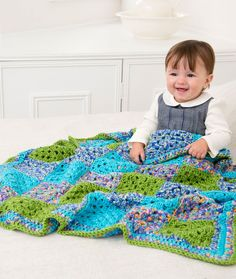 Many Squares Baby Blanket Crochet Pattern | Red Heart